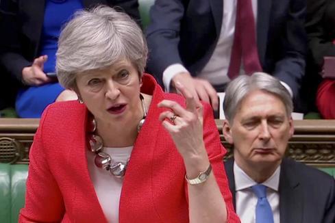La primera ministra británica, Theresa May, hoy, en el Parlamento.