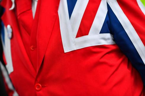 Detail of a Pro-<HIT>Brexit</HIT> supporter's suit is seen outside the Parliament in London