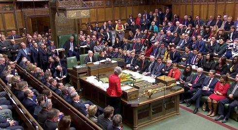 Imagen del Parlamento británico durante el debate y la votación de...