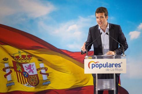 El presidente del PP, Pablo Casado, en un acto en Logroño