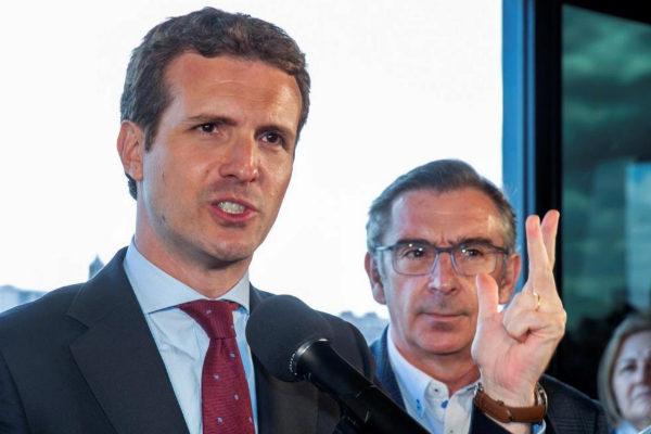 Pablo Casado interviene en un acto del PP en Zaragoza.