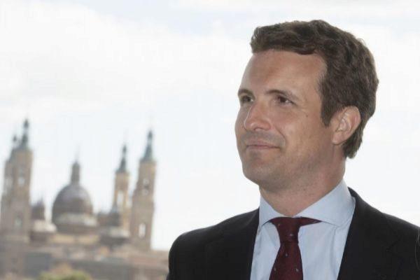 El líder del PP, Pablo Casado, ayer en Zaragoza.