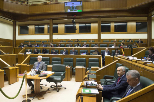 Imagen del Parlamento Vasco, durante el debate de este jueves.