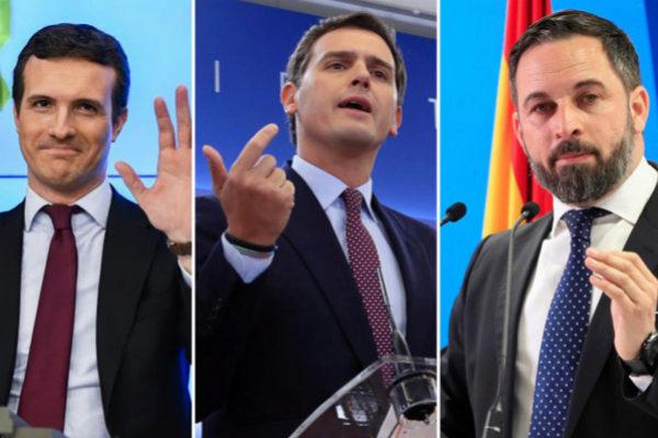 El líder del PP, Pablo Casado; el de Cs, Albert Rivera, y el de Vox, Santiago Abascal.