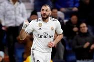 Benzema celebra un gol del Real Madrid.