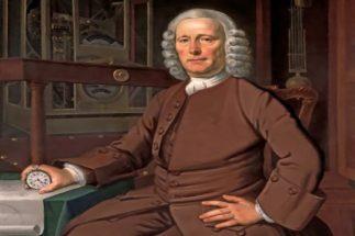 Retrato del relojero John Harrison mostrando la última versión de su cronometro.