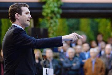 Pablo Casado, durante su intervención en el acto del PP celebrado este jueves en Valladolid.