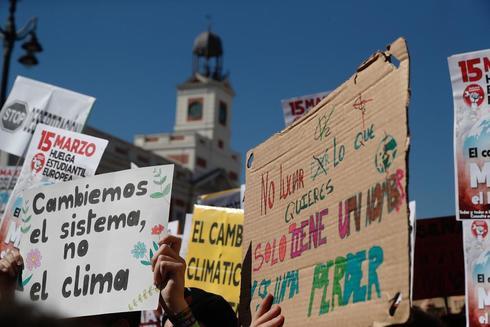 Manifestación de estudiantes por el clima que tiene lugar hoy en la...