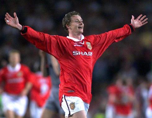 Solskjaer celebra el gol de la victoria del United en la final de 1999.