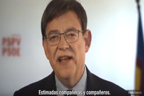 Fotograma del vídeo de Puig a los militantes.