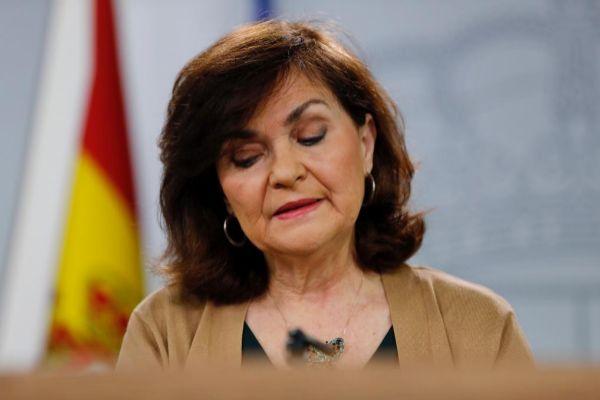 La vicepresidenta del Gobierno, durante la rueda de prensa tras el Consejo de Ministros, donde anunció el plan contra la desinformación.