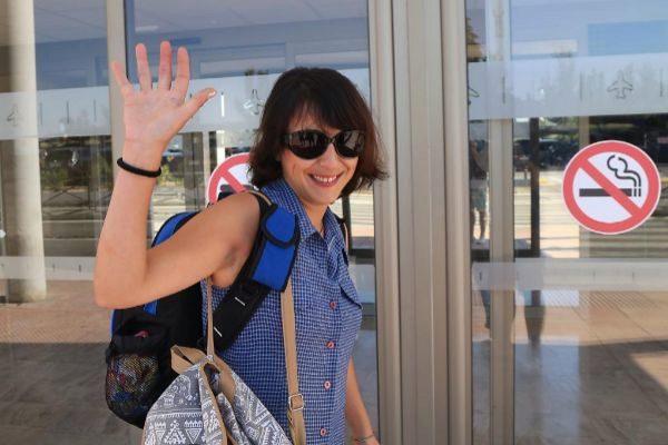 Juana Rivas, el verano pasado en el aeropuerto de Granada.