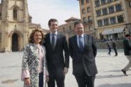 Pablo Casado, Teresa Mallada y Alfredo Canteli, en Oviedo