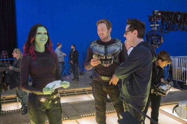 Zoe Saldana, Chris Pratt  y James Gunn durante el rodaje de Guardianes de la Galaxia Vol. 2