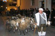 Antonio, junto a sus ovejas, en la Cabalgata de Reyes Magos de Ibi en 2016, una de las últimas en la que participó.