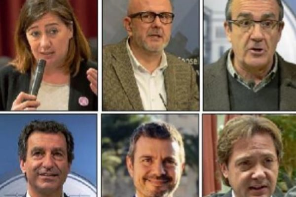 Francina Armengol, Miquel Ensenyat, Juan Pedro Yllanes, Biel Company, Marc Pérez Ribas y Jorge Campos.