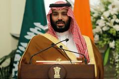El príncipe heredero saudi, Mohamed bin Salman, en Nueva Delhi, el pasado febrero.