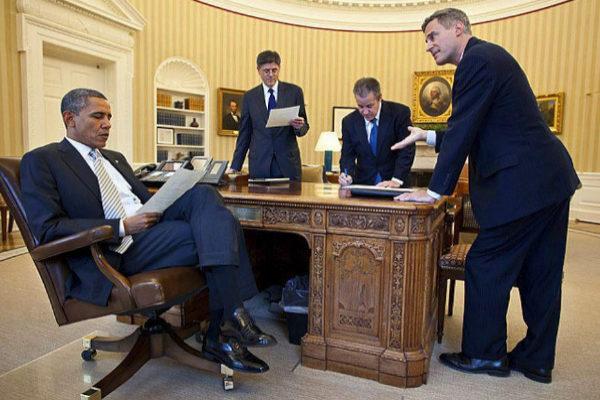 El ex presidente Obama, con su equipo económico en 2012. El primero por la dcha. era Alan Krueger.