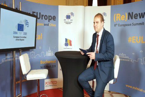 Adrián Ballester en el reciente encuentro de jóvenes políticos de la UE celebrado en Bucarest .