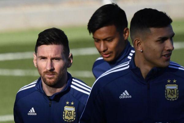 Messi, con Argentina en Valdebebas.