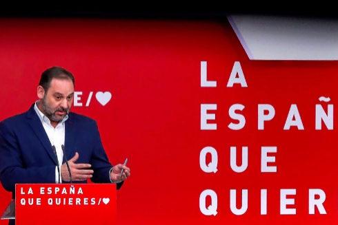 José Luis Ábalos, durante su rueda de prensa en Ferraz