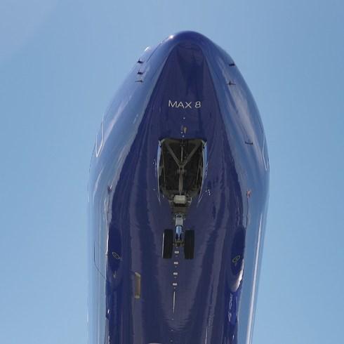 Vista del morro del  Boeing. En la punta están los sensores que ayudan al despegue.