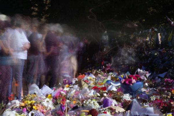 Cientos de ramos de flores en homenaje a las víctimas, en Christchurch.