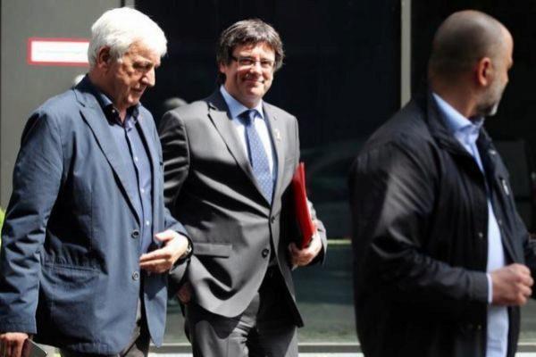 El ex presidente Carles Puigdemont y el empresario Josep Maria Matamala, en Berlín.