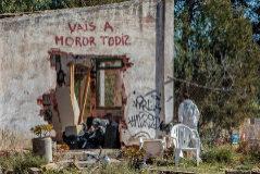 La pintada en la casa registrada por el equipo de la Guardia Civil al día siguiente del asesinato.