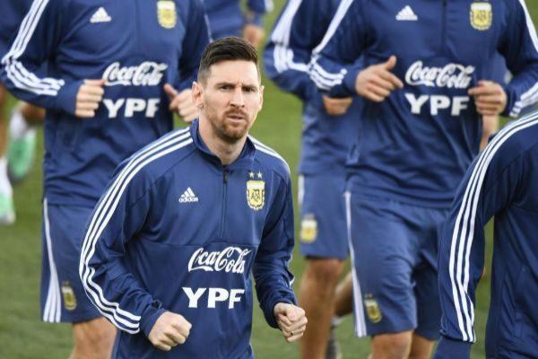 Leo Messi, durante el entrenamiento de la selección argentina.