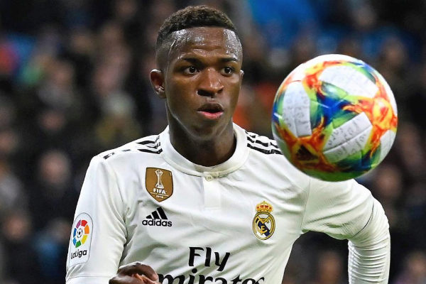 Vinicius Junior durante un partido con el Real Madrid.
