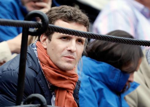 Pablo Casado, este martes en los toros en Valencia.
