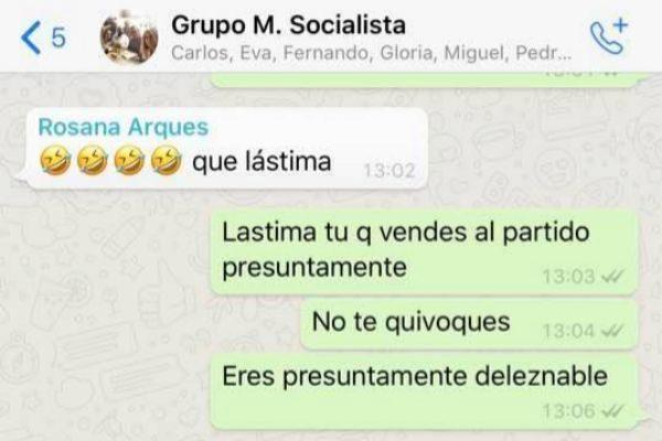 Una concejal del PSOE de Alicante airea en Facebook la bronca de su grupo por WhatsApp