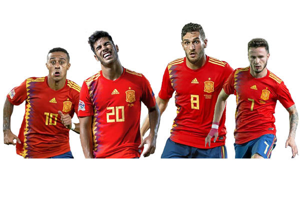 De izda a dcha: Thiago, Asensio, Koke y Saúl.