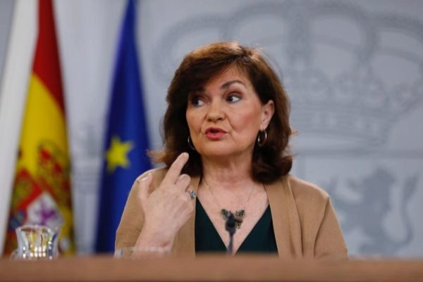 Carmen Calvo, durante uno de los viernes electorales.