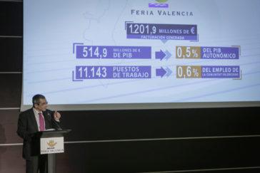 El investigador del IVIE, Joaquín Maudos, explica los datos del estudio sobre Feria Valencia.
