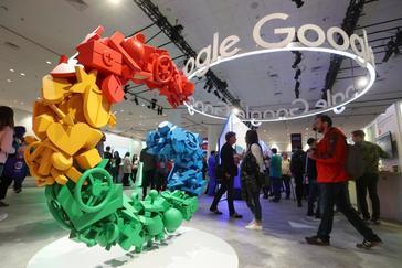 Stand de Google en una feria sobre desarrolladores de videojuegos, en San Francisco