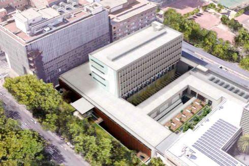 Alzado de la nueva edificación de consultas externas programada para el Hospital Clínico.