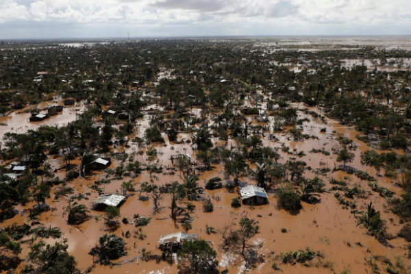 Flooded homes are seen after Cyclone Idai in Buzi district outside...