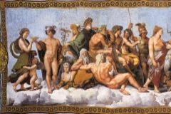 Los dioses griegos en el cuadro 'El consejo de los dioses' de Rafael.