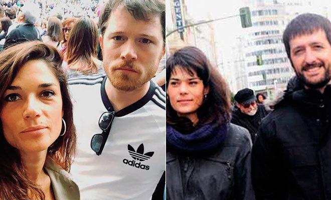 Clara Serra y su ex, Dani Iraberri (i) e Isa Serra y su pareja, Juanma del Olmo.