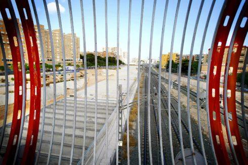 Zona de las vías de la Alta Velocidad a la que debía afectar el soterramiento de las vías, en una imagen de archivo.