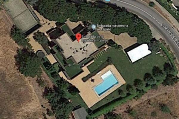 Vista aérea de la embajada de Corea del Norte en Madrid.