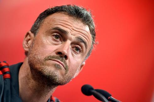 Luis Enrique, en la rueda de prensa en Valencia.