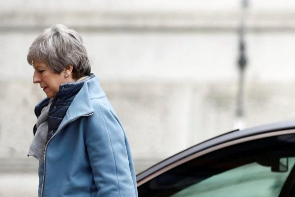 Theresa May, a su llegada a Downing Street, en Londres.