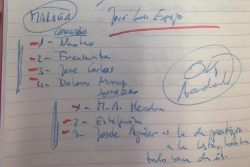 Una página de la Moleskine en la que Santos Cerdán, secretario de Coordinación Territorial del PSOE, anotó las listas.