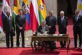 Los presidentes de Brasil, Ecuador, Argentina, Colombia y Chile.