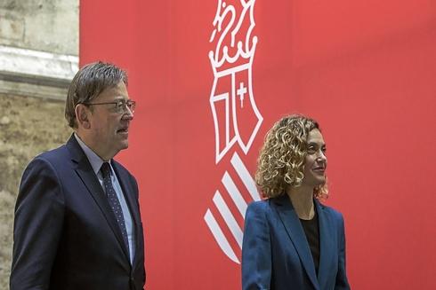 El presidente de la Generalitat, Ximo Puig, y la ministra de Política Territorial, Meritxell Batet, tras la primera comisión bilateral Estado-Generalitat.
