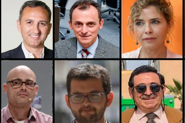 César Sánchez, Pedro Duque, Marta Martín, Txema Guijarro, Ignasi Candela y Manuel Mestre.