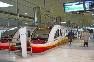 El tren de Inca en la estación intermodal de Palma.